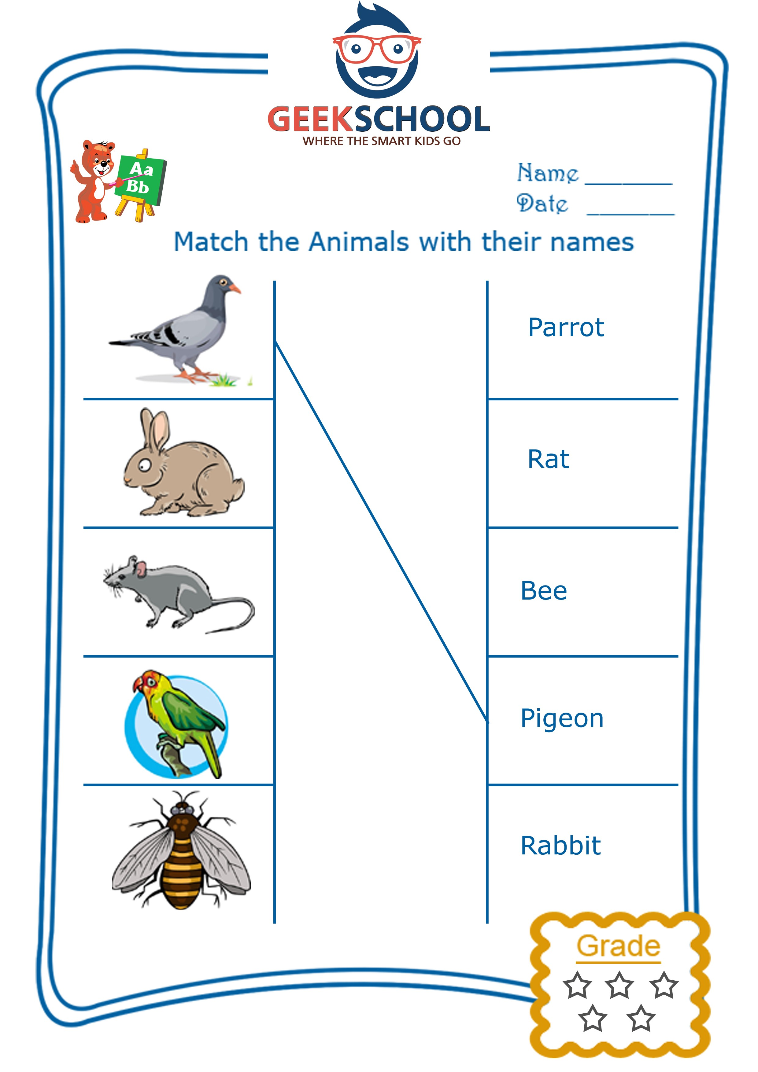 Domestic Animals Printable Worksheets: Worksheets the